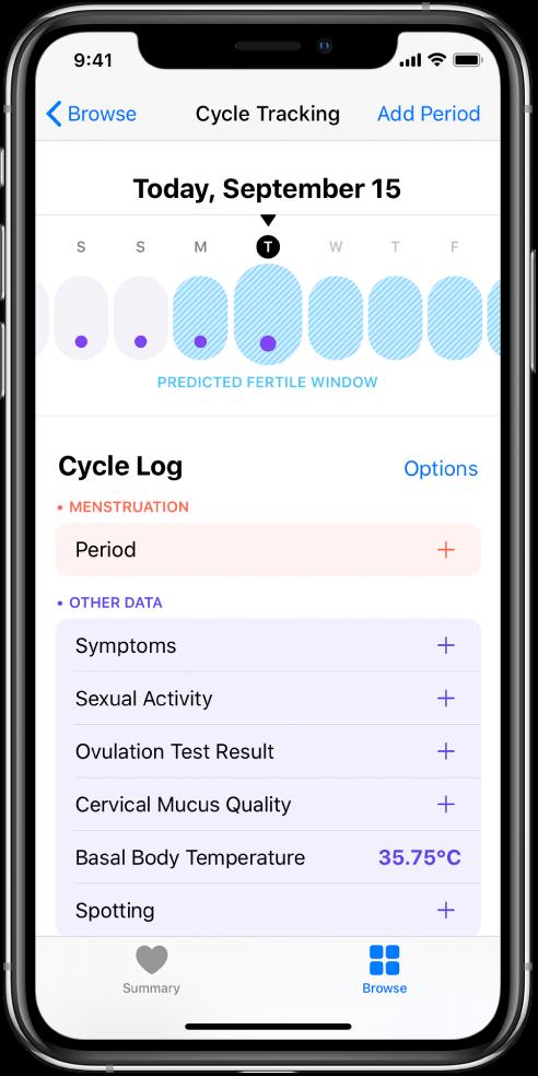 Екранът Cycle Tracking (Следене на цикъла), показващ в горния край линия на времето за една седмица. Лилавите точки показват първите четири дни в линията на времето, а последните пет дена са светло сини. Под линията на времето са опциите за добавяне на информация за цикли, симптоми и други.