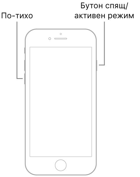 Илюстрация на iPhone 7 с екрана, обърнат нагоре. Бутонът за намаляване на силата на звука е показан от лявата страна на устройствата, а бутонът за спящ/активен режим е показан от дясната страна.