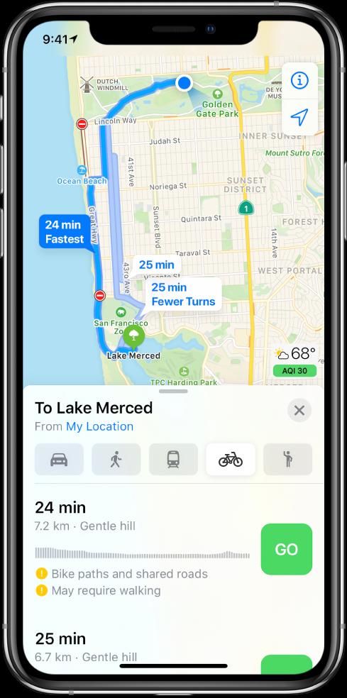 Карта, показваща няколко велосипедни маршрута. Информацията за маршрута в долния край предоставя детайли за маршрутите, включително очаквано време на пристигане, промяна на наклоните и типа на пътищата. Бутон Go (Тръгни) се появява до всеки избор в информацията за маршрута,