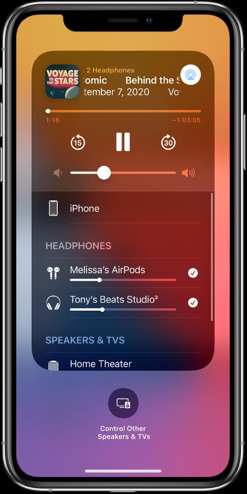 Екранът на Контролен център, показващ свързани слушалки AirPods и Beats.