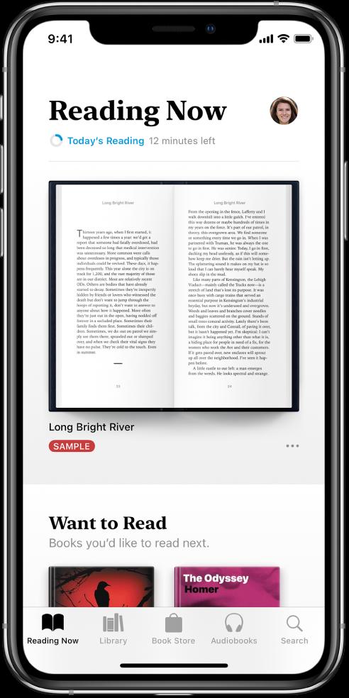 Екранът Reading Now (Четени в момента) в приложението Books (Книги). В долния край на екрана, от ляво надясно, са етикетите Reading Now (Четени в момента), Library (Библиотека), Book Store, AudioBooks (Аудио книги) и Search (Търсене).