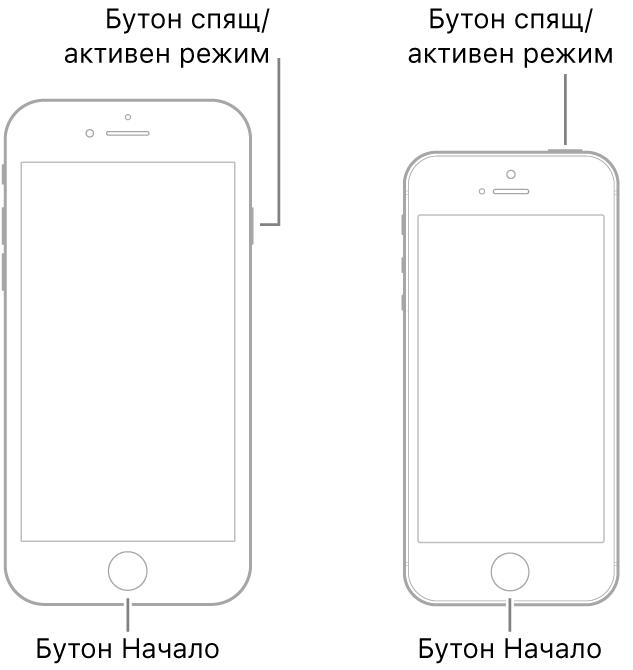 Илюстрация на два от моделите на iPhone, обърнати с екрана нагоре. И двата имат бутон Начало в долния край на устройствата Левият модел има бутон за спящ/активен режим в горния край на дясната страна на устройството, а десният модел има бутон за спящ/активен режим в десния край на горната страна на устройството.