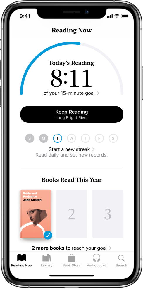 Секцията Reading Goals (Цели за четене) в етикета Reading Now (Четени в момента). Броячът за четене показва, че 10 минути от поставената цел от 20 минути вече са завършени. Под брояча се намират бутон Keep Reading (Продължи четенето) и кръгове, които показват дните от седмицата, от неделя до събота, а синият контур около кръга показва напредъка в четенето за този ден. В долния край на страницата са кориците на Books Read This Year (Книги, прочетени през годината).
