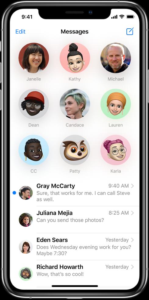 Списъкът с разговори Messages (Съобщения) в приложението Messages (Съобщения). В горния край на екрана има девет изображения на контакти, показани в кръгчета, което означава, че са закрепени в горния край. Отдолу е списъкът с разговори.