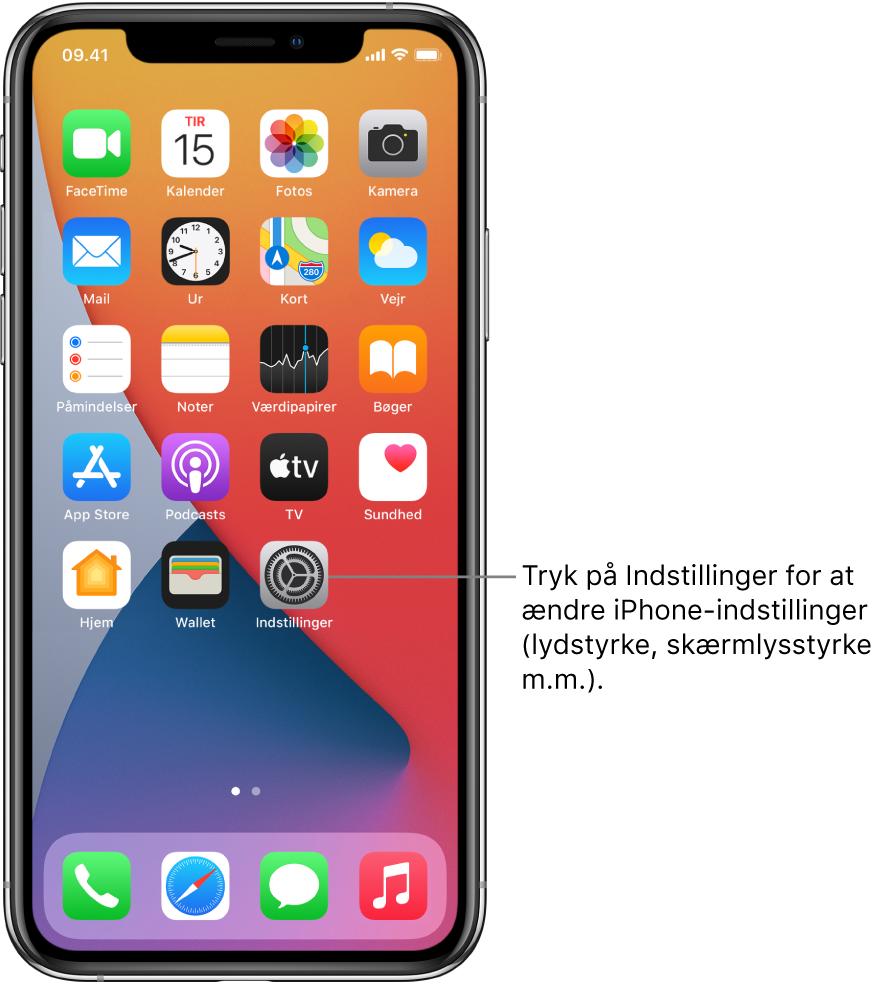 Hjemmeskærmen med adskillige symboler, herunder symbolet for appen Indstillinger, som du kan trykke på for at ændre lydstyrken, skærmens lysstyrke m.m. på iPhone.