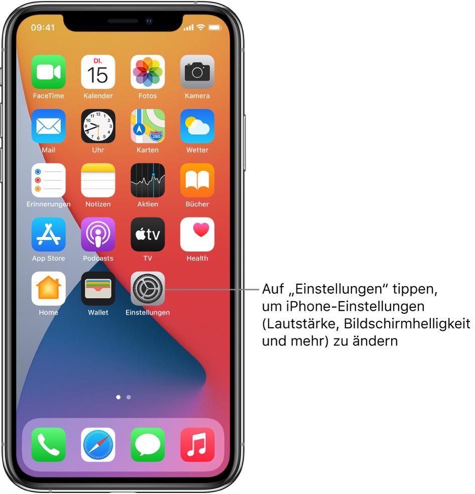"""Der Home-Bildschirm mit mehreren App-Symbolen, unter anderem mit dem Symbol der App """"Einstellungen"""", in der du Einstellungen wie die Lautstärke und die Bildschirmhelligkeit für das iPhone ändern kannst."""