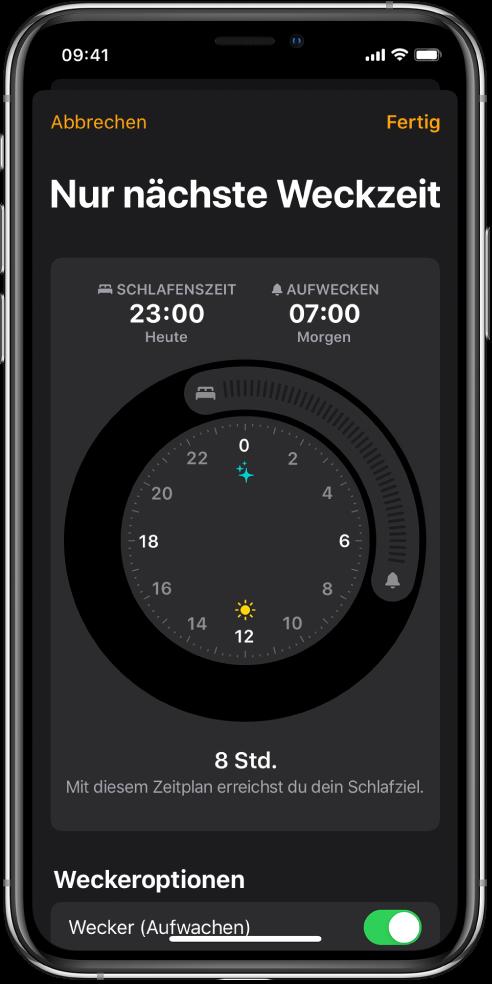 """Der Bildschirm """"Nur nächste Aufwachzeit"""" mit der Schlafenszeit um 23Uhr und der Aufweckzeit um 7Uhr."""
