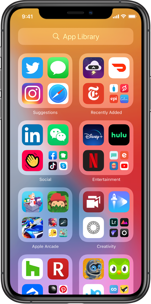 The iPhone App Library showing the apps organized by category (Suggestions, Recently Added, Social, Entertainment, and so on).