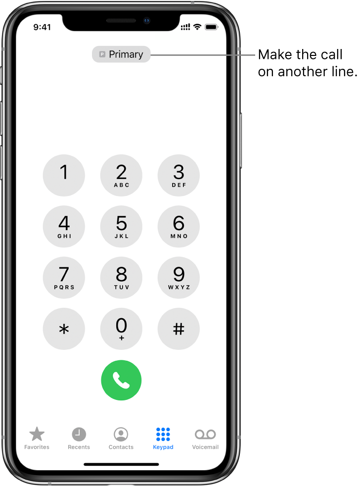 The Phone keypad. Along the bottom of the screen, the tabs from left to right are Favorites, Recents, Contacts, Keypad, and Voicemail.