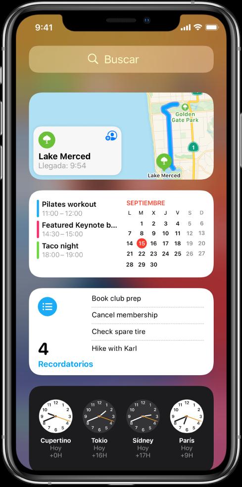Widgets de la visualización Hoy en el iPhone, incluidos los widgets de Mapas, Calendario, Recordatorios y Reloj.