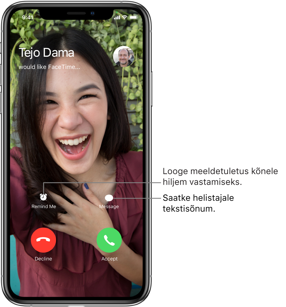 Saabuva kõne kuva. Ekraani allservas asuvad ülemisel real (vasakult paremale) nupud Remind Me ja Message. Alumisel real asuvad (vasakult paremale) nupud Decline ja Accept.