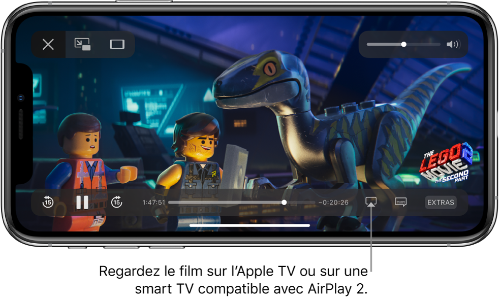 Un film en cours de lecture sur l'écran de l'iPhone. En bas de l'écran se trouvent les commandes de lecture, notamment le bouton «Recopie de l'écran» en bas à droite.