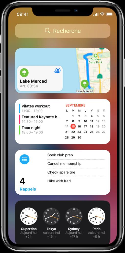 Widgets de la vue Aujourd'hui sur l'iPhone, comprenant les widgets Plans, Calendrier, Rappels et Horloge.