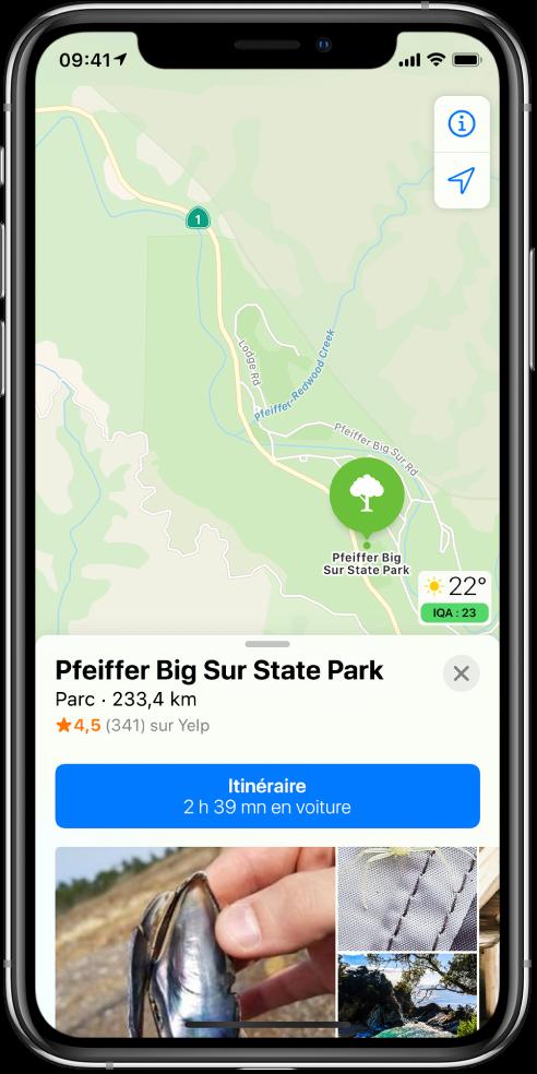 Plan affichant la position d'un parc. La fiche d'informations au bas de l'écran inclut un bouton permettant d'obtenir un itinéraire.