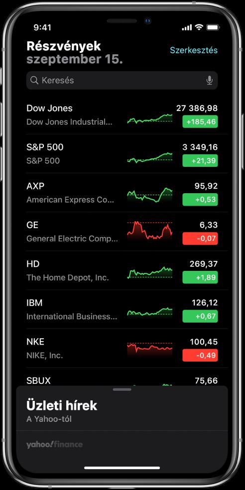 Figyelési lista különféle részvényekkel. A listán lévő egyes részvények mellett (balról jobbra haladva) a tőzsdei szimbólum és név, egy teljesítménydiagram, a részvényár és az ár változása látható. A keresőmező a képernyő tetején található a figyelési lista felett. A figyelési lista alatt az Üzleti hírek rész található. Legyintsen felfelé az üzleti hírek felett az üzleti hírekről szóló cikkek megjelenítéséhez.
