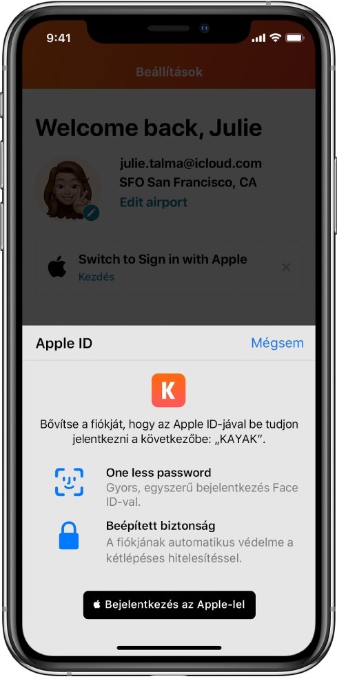 Egy alkalmazás megjeleníti a Bejelentkezés az Apple-lel gombot.
