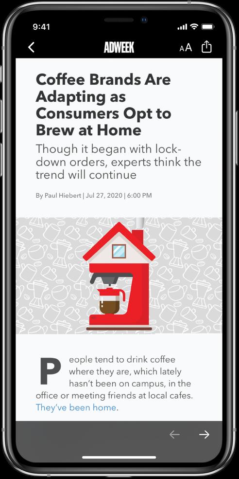 Egy cikk az Apple Newsból. A képernyő bal felső részén egy Vissza gomb található, amellyel visszatérhet a Részvények alkalmazáshoz. A képernyő jobb felső sarkában a Szövegformátum és a Megosztás gomb látható. A jobb alsó sarokban a Következő oldal gomb jelenik meg.
