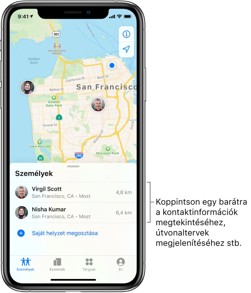 A Lokátor képernyője, amelyen a Személyek lap van megnyitva. A Személyek listán két barát neve látható: Szelei Viktor és Kiss Nóra. Az eszközök helyzete San Francisco térképén látható.