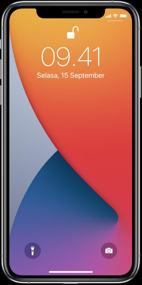 Layar Terkunci iPhone menampilkan waktu dan tanggal.