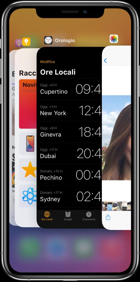 Elenco applicazioni. Le icone delle app aperte appaiono in alto e la schermata attuale di ciascuna app appare sotto la relativa icona.