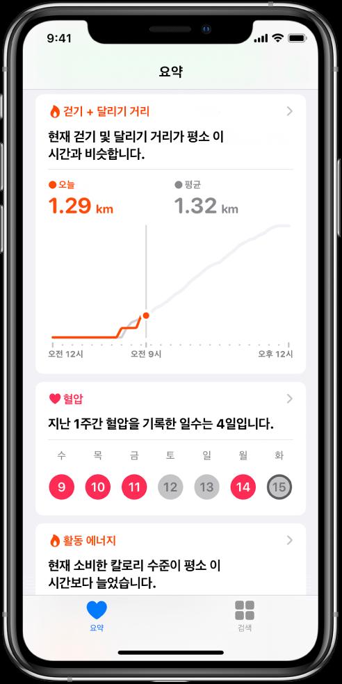 하루 동안 걷기 및 달리기 거리 및 지난 주에 혈압이 기록된 날짜 수를 포함하는 하이라이트를 보여주는 요약 화면.