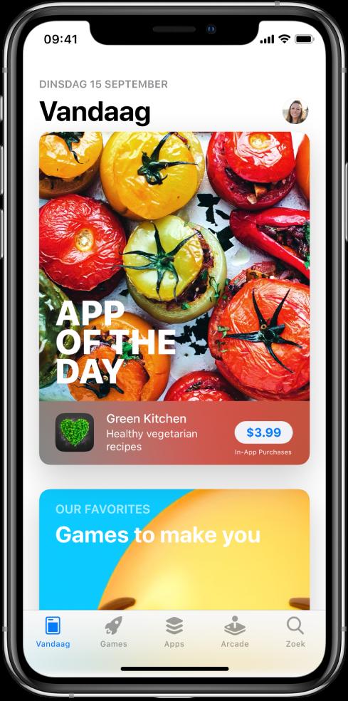 Het Vandaag-scherm in de AppStore met een uitgelichte app. Rechtsbovenin staat je profielfoto. Hier tik je op om je aankopen te bekijken en je abonnementen te beheren. Onder in het scherm staan van links naar rechts de tabbladen 'Vandaag', 'Games', 'Apps', 'Arcade' en 'Zoek'.