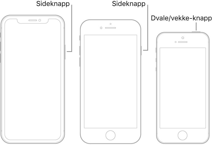 Sideknappen eller Dvale/vekke-knappen på tre ulike iPhone-modeller.
