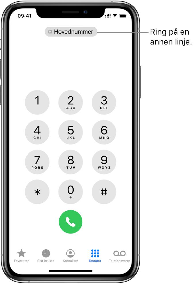 Telefontastaturet. Langs bunnen av skjermen er fanene, fra venstre mot høyre, Favoritter, Nylige, Kontakter, Tastatur og Telefonsvarer.