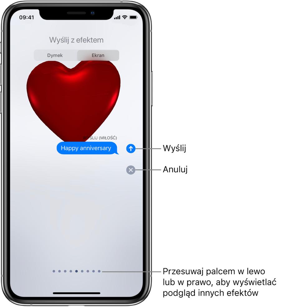 Wiadomość zpodglądem efektu pełnoekranowego Czerwone serce.