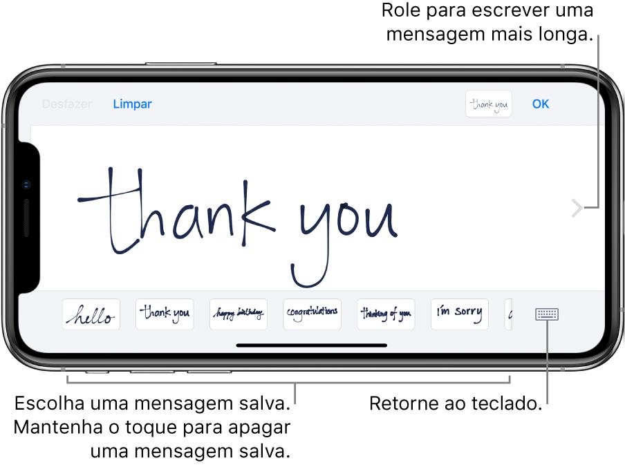 Tela de escrita à mão com uma mensagem manuscrita. Na parte inferior, da esquerda para a direita, estão as mensagens salvas e o botão Mostrar Teclado.