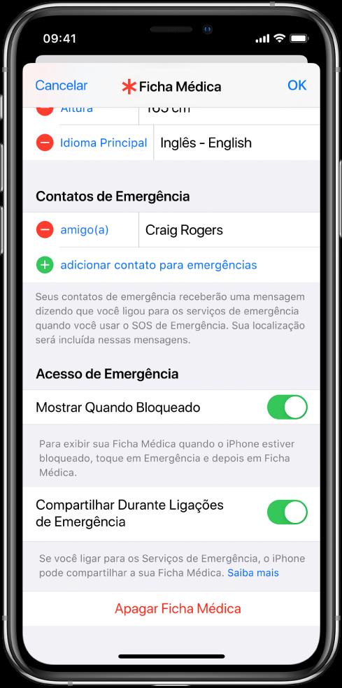 Tela da Ficha Médica. Na parte inferior, opções para mostrar as informações da Ficha Médica quando a tela do iPhone estiver bloqueada e quando você fizer uma ligação de emergência.