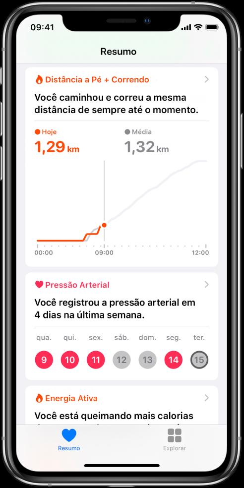 Tela Resumo mostrando destaques que incluem as distâncias caminhadas e corridas no dia e o número de dias na semana passada nos quais a pressão arterial foi registrada.