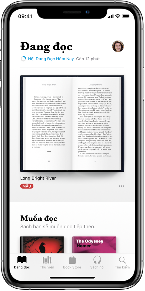 Màn hình Đang đọc trong ứng dụng Sách. Ở cuối màn hình, từ trái sang phải, là các tab Đang đọc, Thư viện, Book Store, Sách nói và Tìm kiếm.