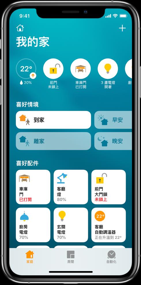 家庭標籤頁,顯示已標示為喜好項目的情境和配件。也會顯示配件狀態按鈕。底部其他標籤頁是「房間」和「自動化」。