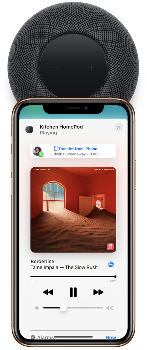 On an iPhone, the Home app showing music playing as you hand off a call to HomePod. The iPhone is close to the top of HomePod.