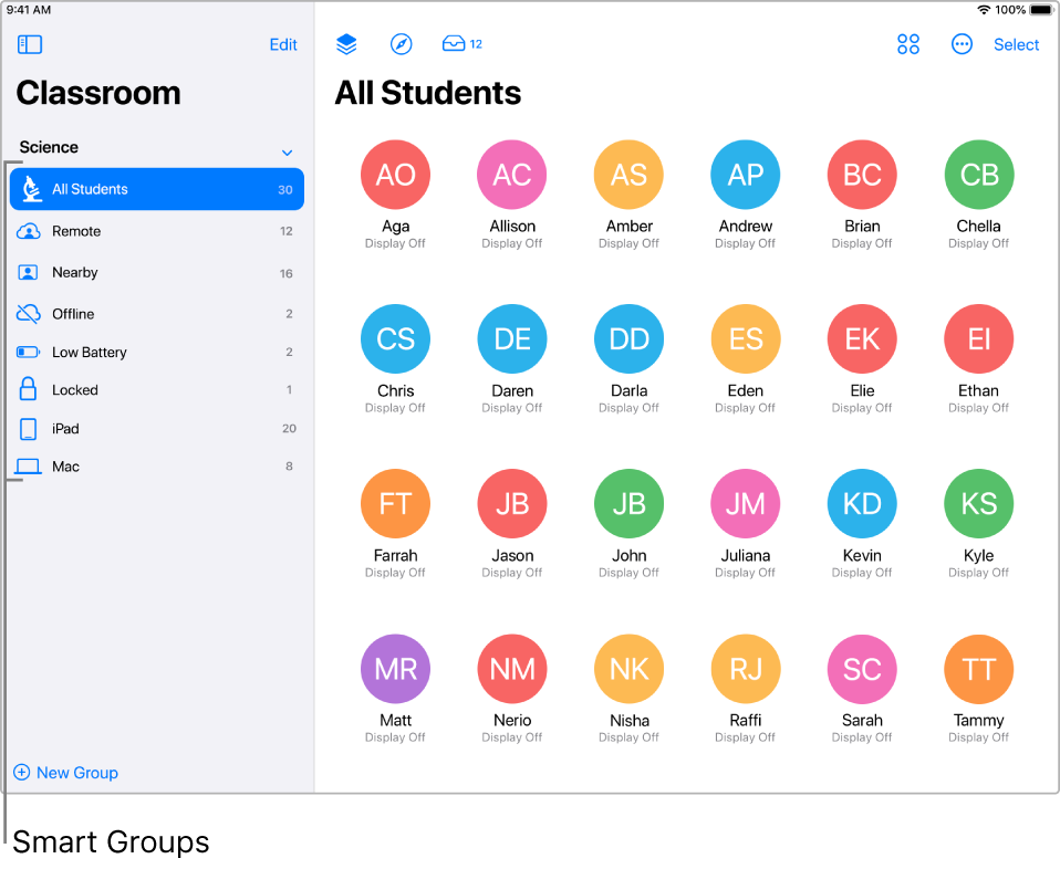 The main Classroom window showing various Smart groups in the sidebar.