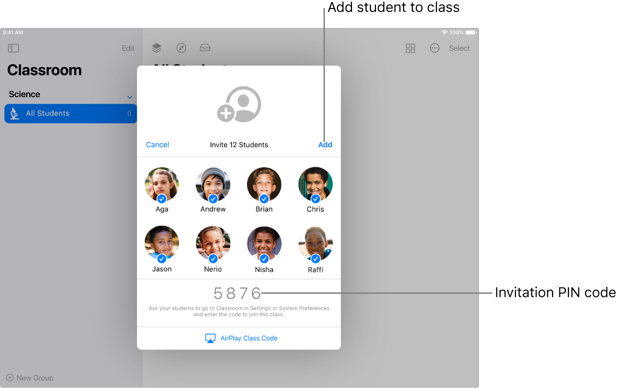 The invitation screen in Classroom showing 8 students selected and the invitation code.