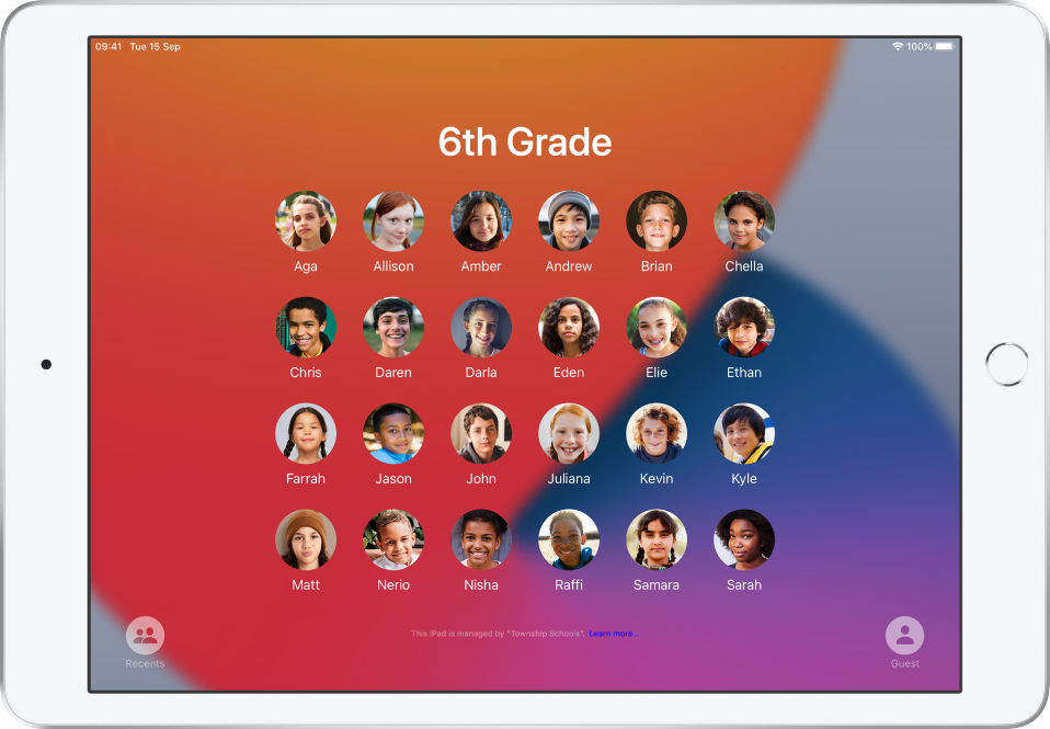 Shared iPad screen showing students.
