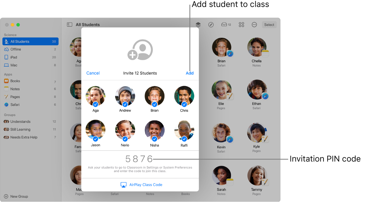 The Classroom screen showing students being invited to join a class and the invite code used to join.