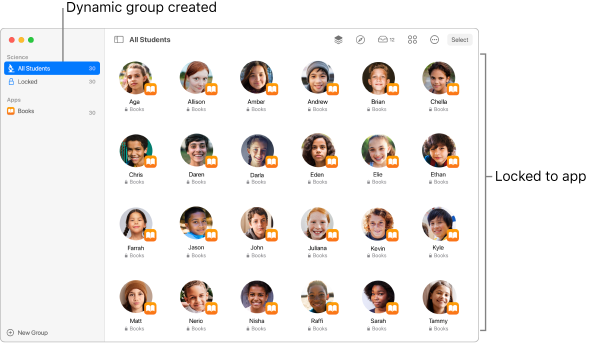 """The Classroom window showing a group of students """"locked"""" to an app."""