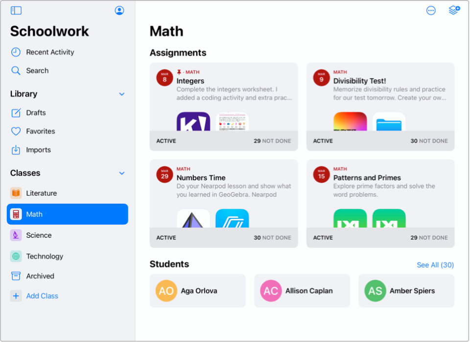 A screenshot of the Schoolwork app.