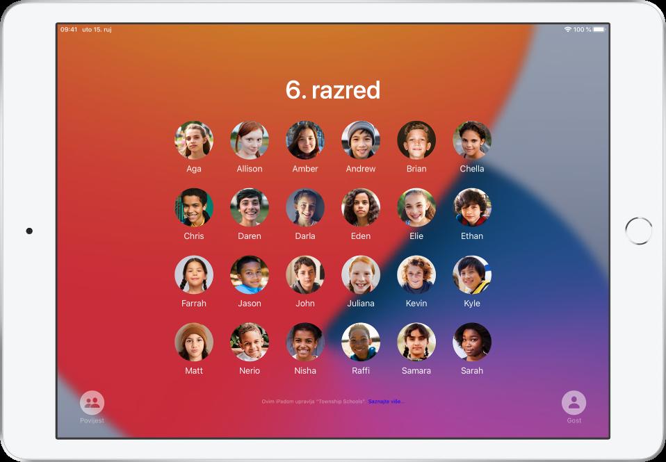 Zaslon Dijeljenog iPada prikazuje polaznike.