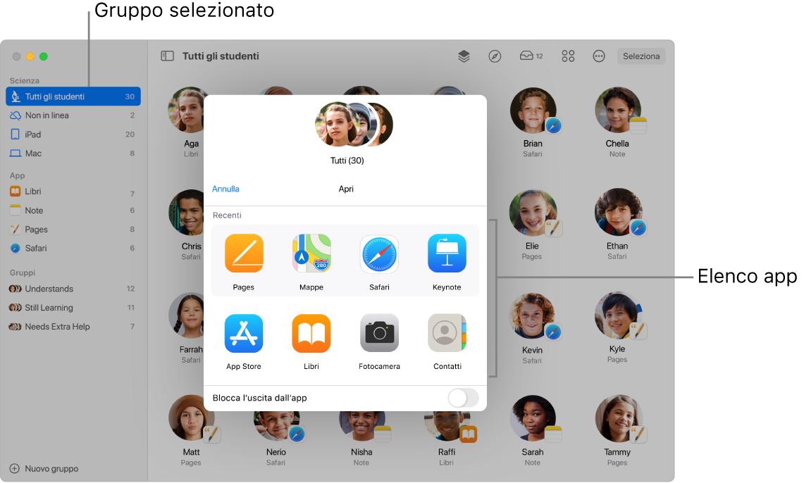 La finestra di Classroom mostra le app disponibili visualizzate quando fai clic su Apri.