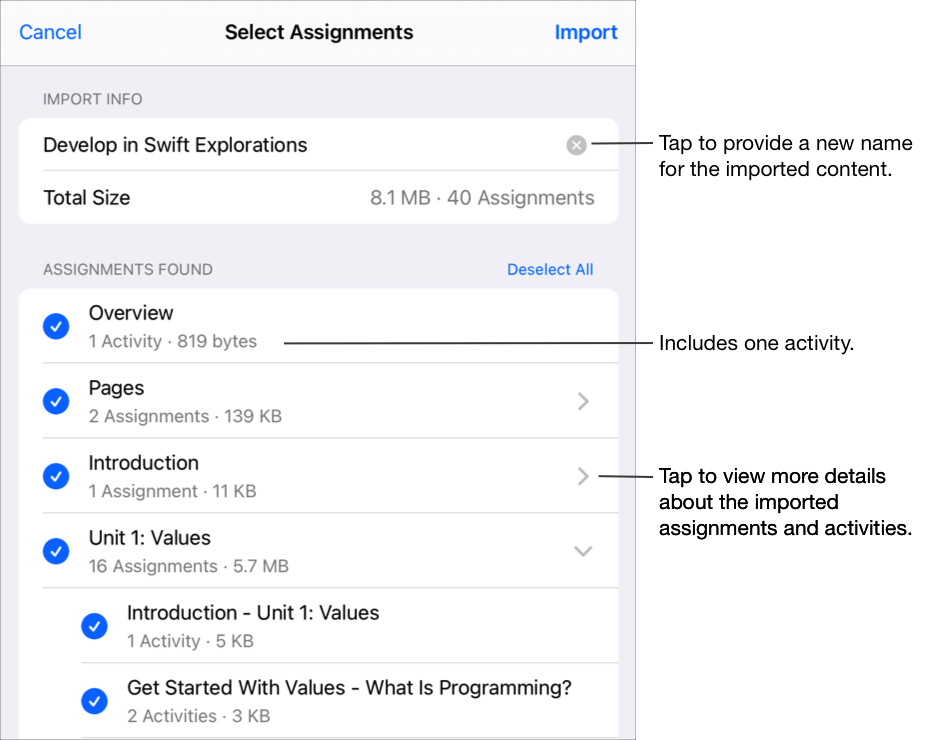 The Select Assignments pop-up pane showing the imported Develop in Swift Explorations content, size and assignments. Tap to provide a new name for the imported content. You can see how many activities are included in an assignment, or tap to view more details about imported assignments and activities.