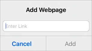 The Links> Add Webpage pop-up pane.