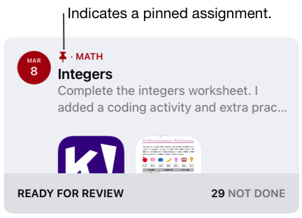 A sample of a pinned assignment (Integers). The pin icon indicates a pinned assignment.