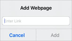 Kuvassa on Linkit > Lisää verkkosivu -ponnahdusruutu.