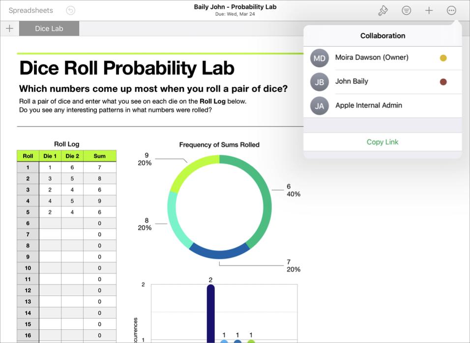 Un exemple de fichier collaboratif d'un élève, BailyJohn- Probability Lab, montrant les détails relatifs à la collaboration dans l'app iWork Numbers.