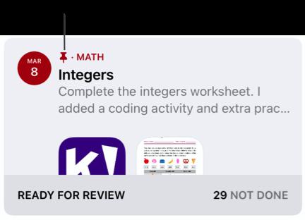 İğnelenmiş bir ödev örneği (Tam Sayılar). İğne simgesi, iğnelenmiş ödevleri belirtir.