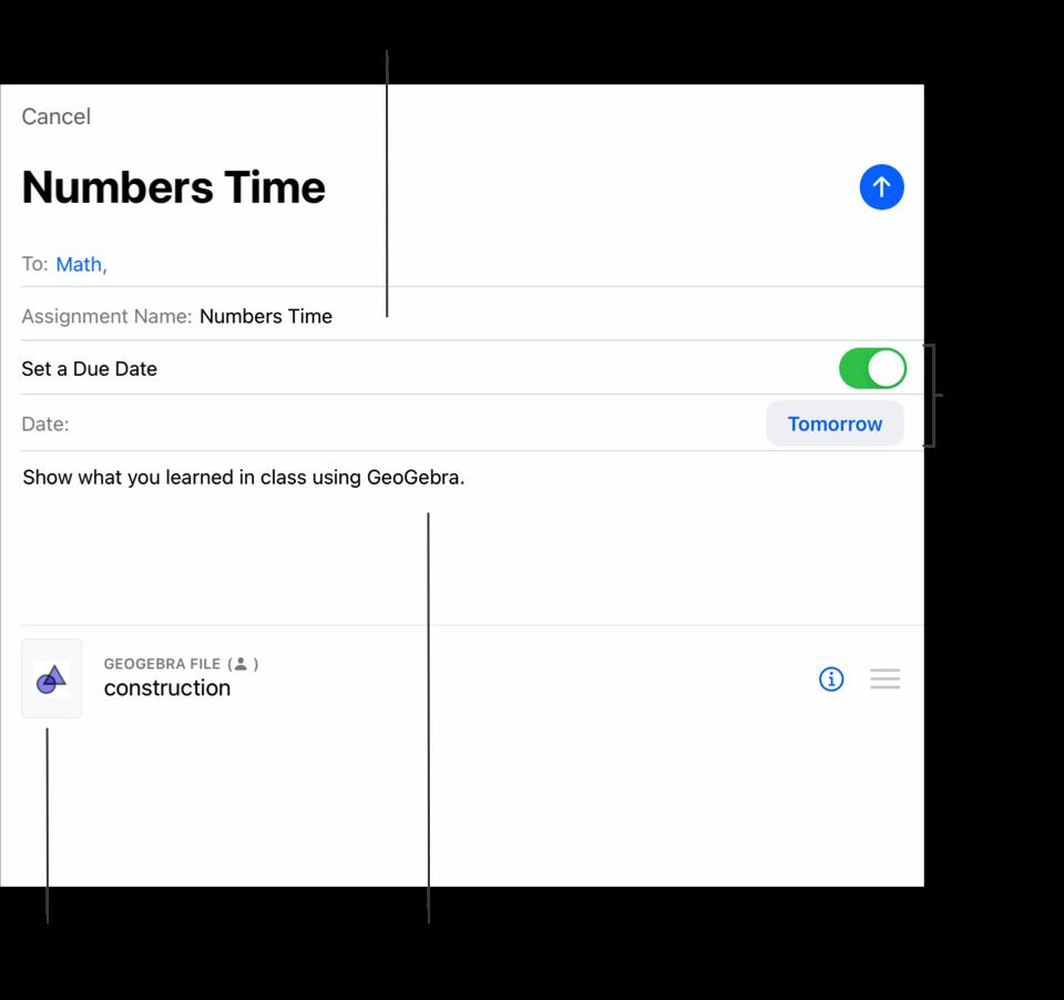 Приклад спливної панелі «Нове завдання» з відображенням учасників класу «Математика» як одержувачів, назви завдання («Числа, час»), терміну здачі— завтра, вказівок і однієї дії.